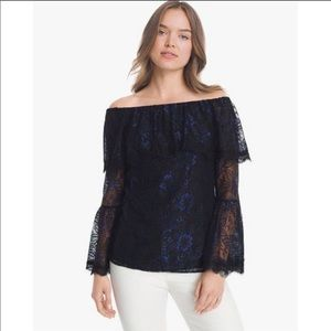 NWT WHBM Hannie Lace Off The Shoulder Blouse
